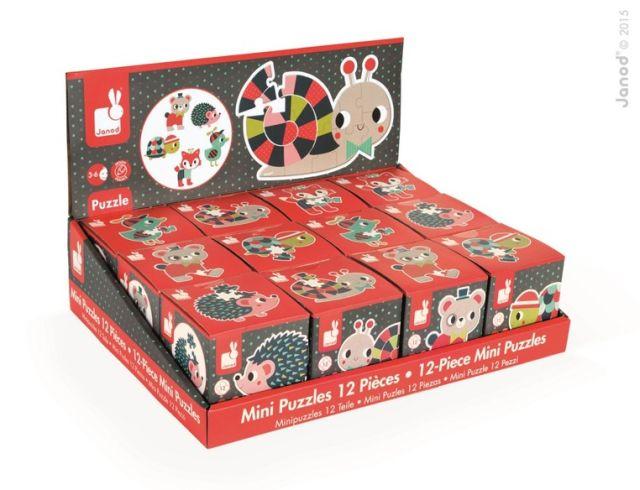 Puzzle,in cub,mini,animale padure,12pcs,div.mod,Janod
