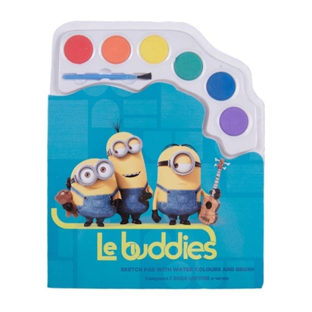 Caiet de colorat,cu acuarele,Minions