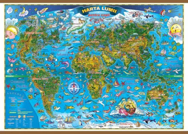 Harta lumii pentru copii,70/100cm