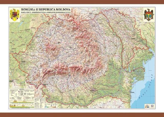 Harta Romania,fizica/adm/subs.min.,140/100cm