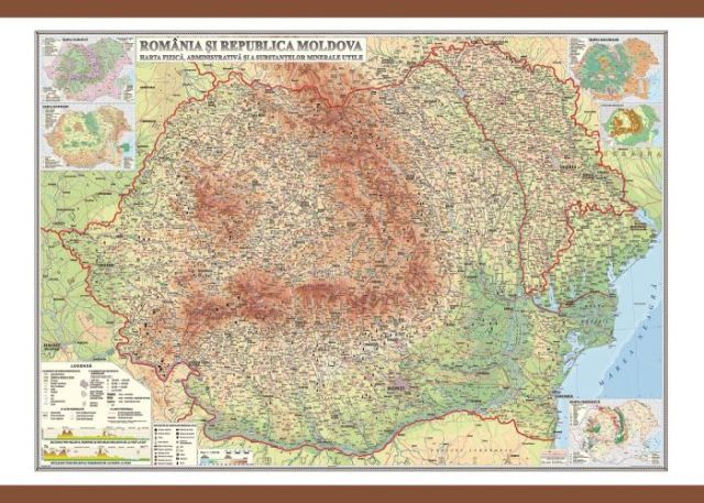 Harta Romania,fizica/adm/subs.min.,50/70cm