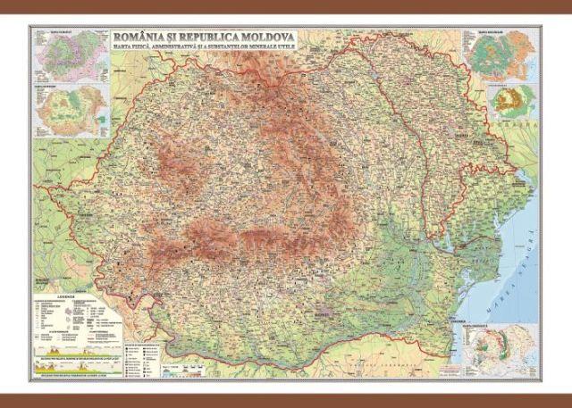 Harta Romania,fizica/adm/subs.min.,70/100cm