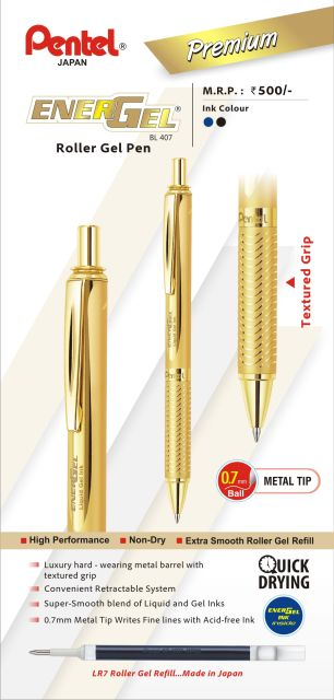Roller Pentel Energel 407,mecanism,auriu