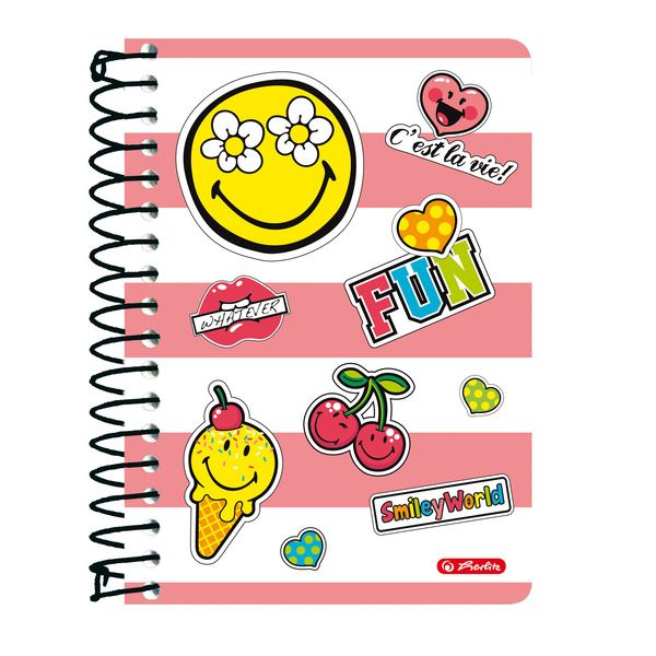 Caiet cu spira A6,200file,SmileyWorld Girly