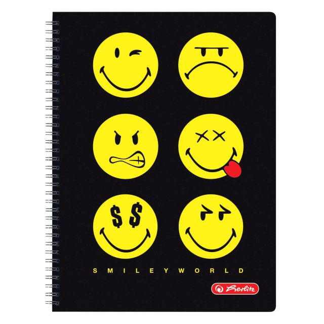 Caiet cu spira A4,70file,SmileyWorld Negru,matematica