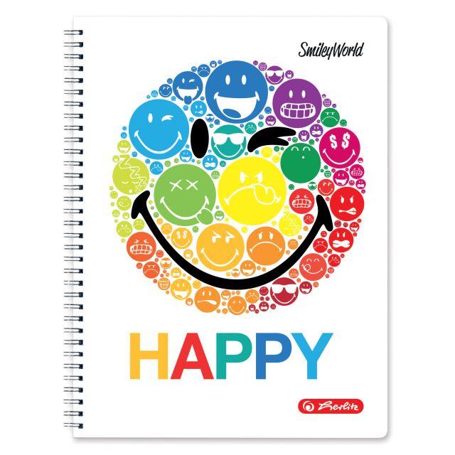 Caiet cu spira A4,70file,SmileyWorld Rainbow,matematica