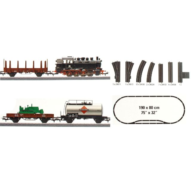 Start set tren de marfa cu locomotiva cu abur BR 81,DB, Epoca III
