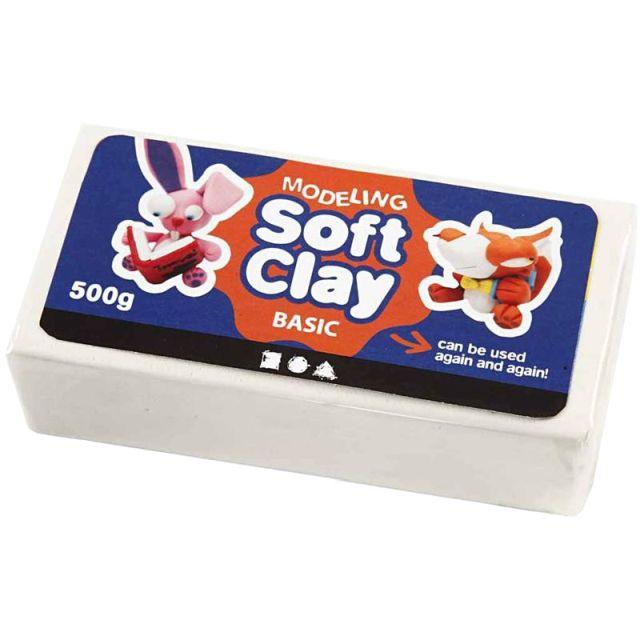 Plastilina Soft Clay,500g,alb