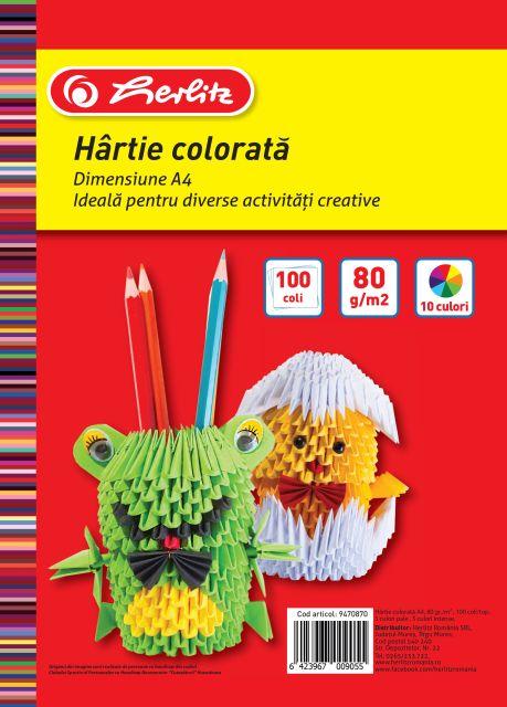 Hartie color A4,80g,100coli,div.culori