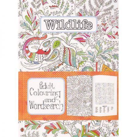 CT 3 Carte de colorat pentru adulti A5 Animale salbatice si cuvinte incrucisate