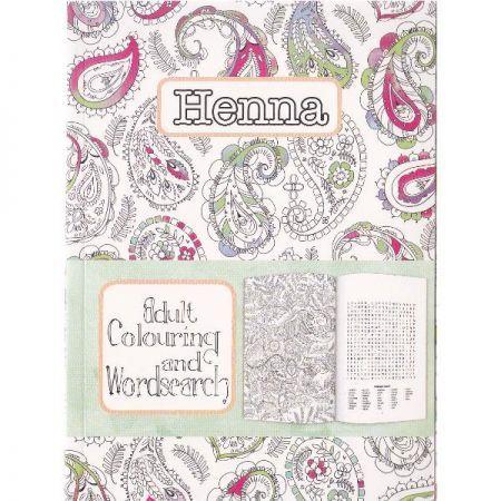 CT 3 Carte de colorat pentru adulti A5 Modele Henna si cuvinte incrucisate