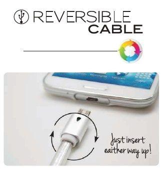 Cablu reversibil microUSB, rosu/auriu/gri