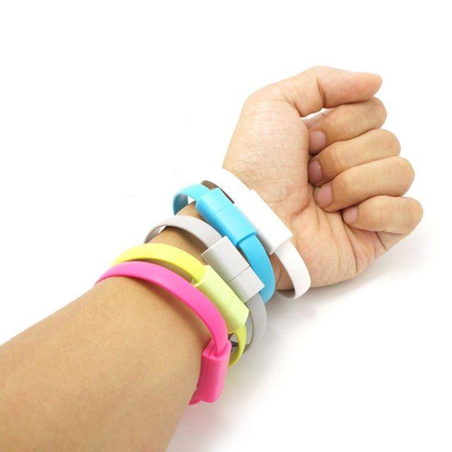 Cablu bratara silicon microUSB, roz/negru/verde/alb