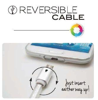 Cablu reversibil microUSB, albastru/verde/mov