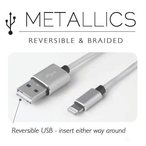 Cablu iPhone cu aspect metalic, auriu/roz/gri