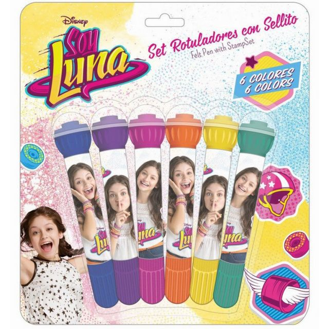 Markere pentru copii 6culori+stampila,Soy Luna