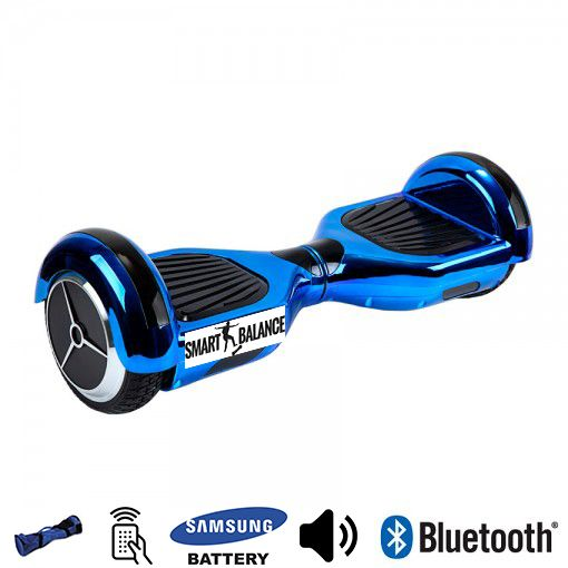 Hoverboard, Smart Balance, 350W x 2, Albastru metalizat, Bluetooth