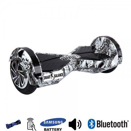 Hoverboard, Smart Balance, 350W x 2, Alb/Negru, Bluetooth