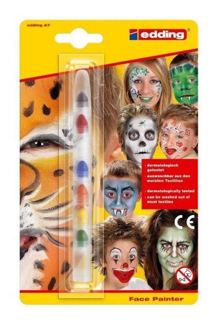 Set creativ pictura pe fata,Edding,7culori/set