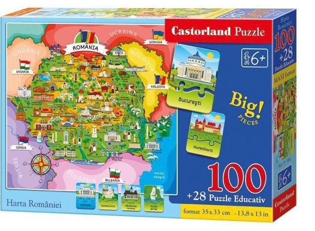 Puzzle educativ,Harta Romaniei,100pcs
