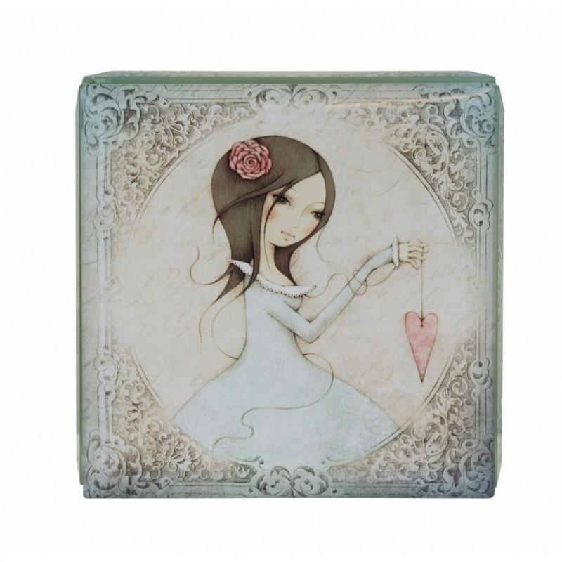 Casete bijuterii 10x10cm,sticla,All For Love