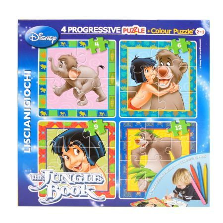 Puzzle progresiv,Cartea junglei,Color plus