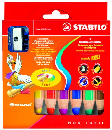 Creioane color.StabiloWoody,3in1,6b+asc.