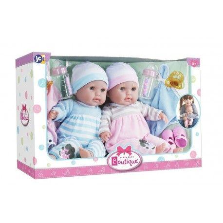 Papusa bebe,gemeni,paturica si suzeta,38cm,JC Toys