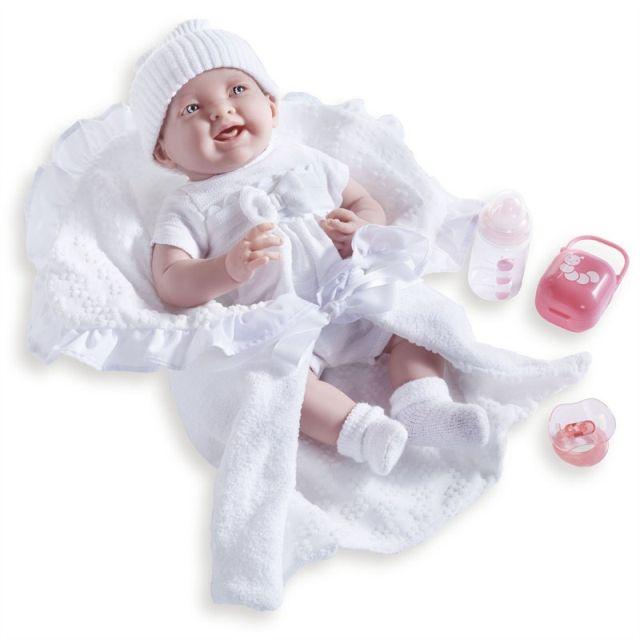 Papusa bebe,cu trusou alb,suzeta si biberon,39cm,JC Toys