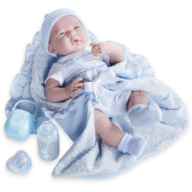 Papusa bebe,cu trusou bleu,suzeta si biberon,39cm,JC Toys