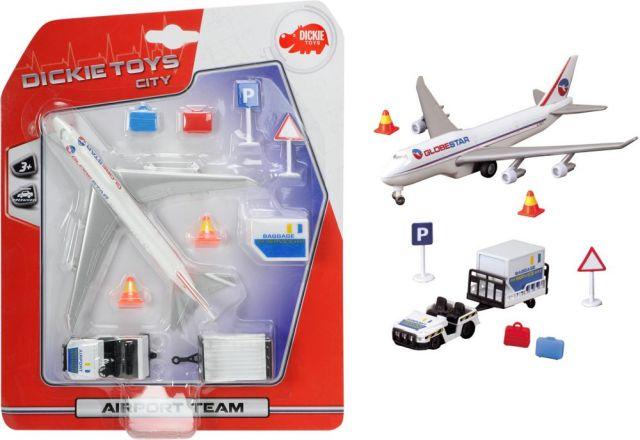 Avion Dickie,cu utilaje aeroport,blister