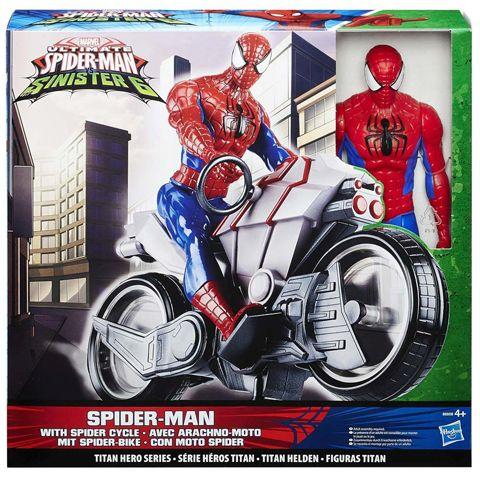 Figurina SpiderMan,cu Motocicleta,30cm