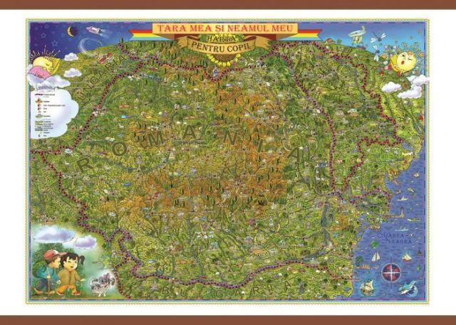 Harta Romania,tara si neamul meu,50x70cm