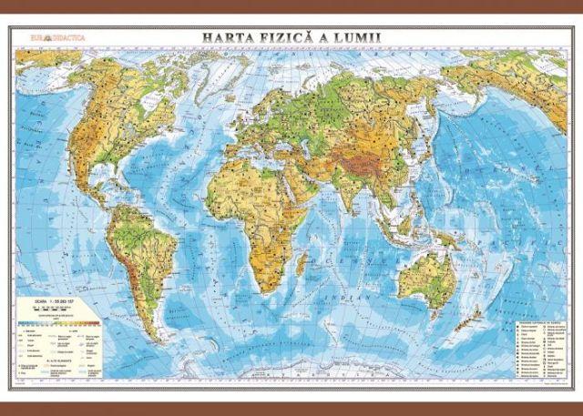 Harta lumii,fizica,50x70cm
