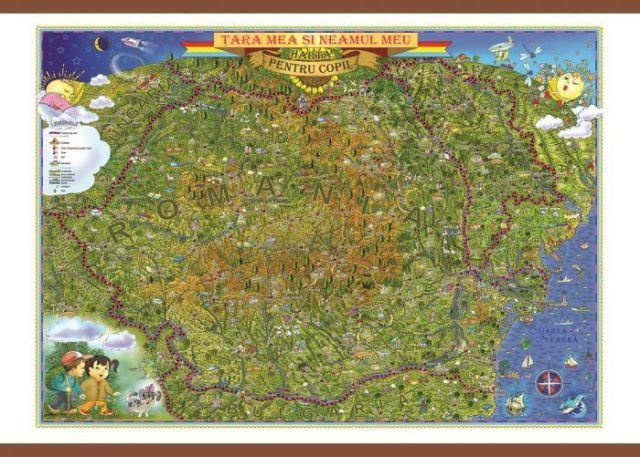 Harta Romania,tara si neamul meu,70x100cm