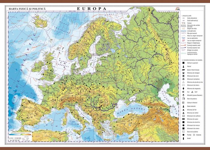 Harta Europa,fizica/politica,100x140cm