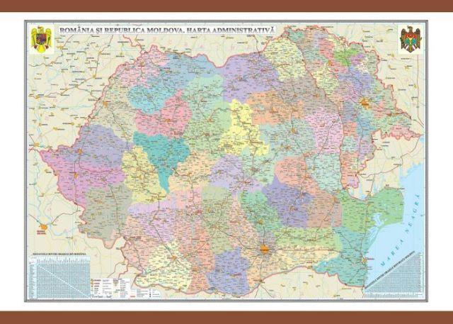 Harta Romania Administrativa 70x100cm Mdocghr4cd1
