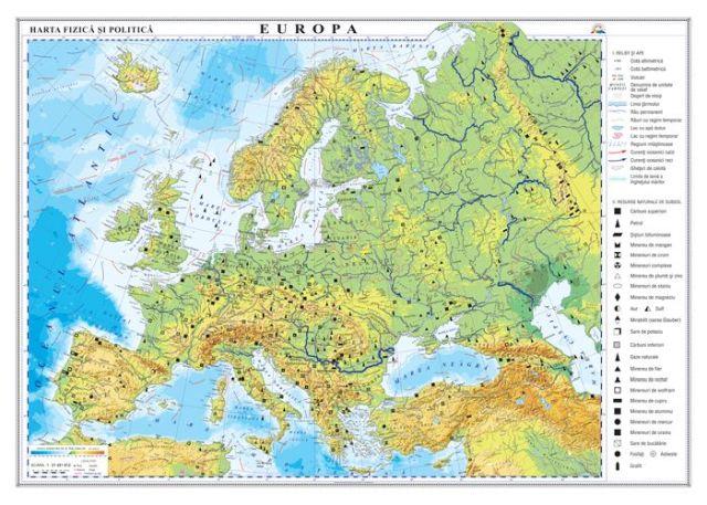 Harta Europa,fizica/politica,70x100cm