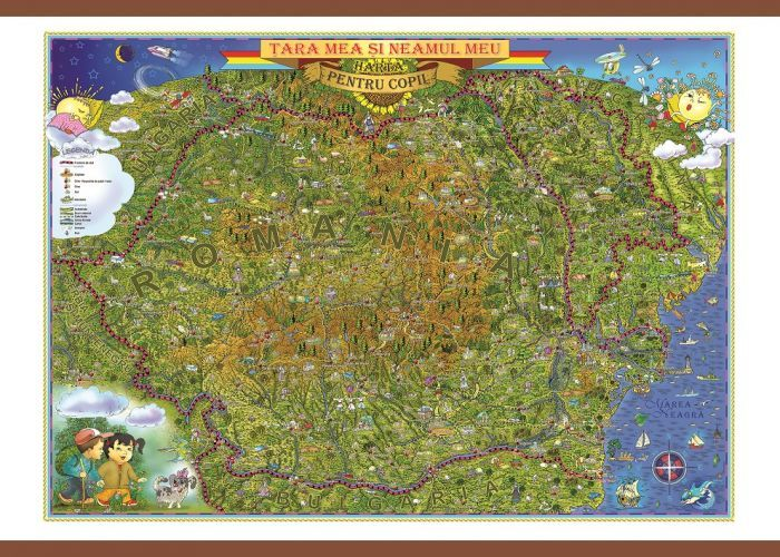 Harta Romania,tara si neamul meu,100x140cm
