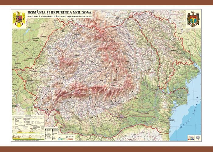 Harta Romania,fizica/administrativa,140x200cm