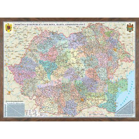 Harta Romania,administrativa,100x140cm,3D