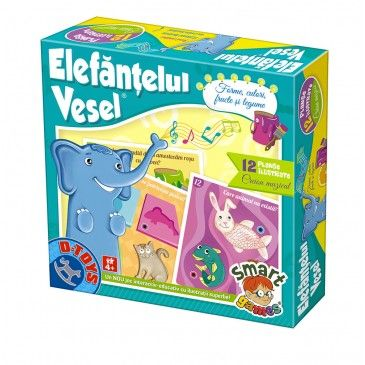 Joc Elefantelul vesel,Forme,culori,fructe,frunze