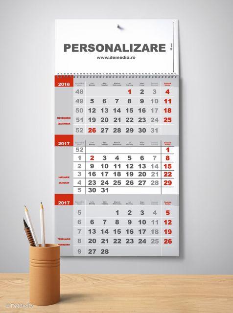 Calendar perete 33x48cm,12f,2culori,2017