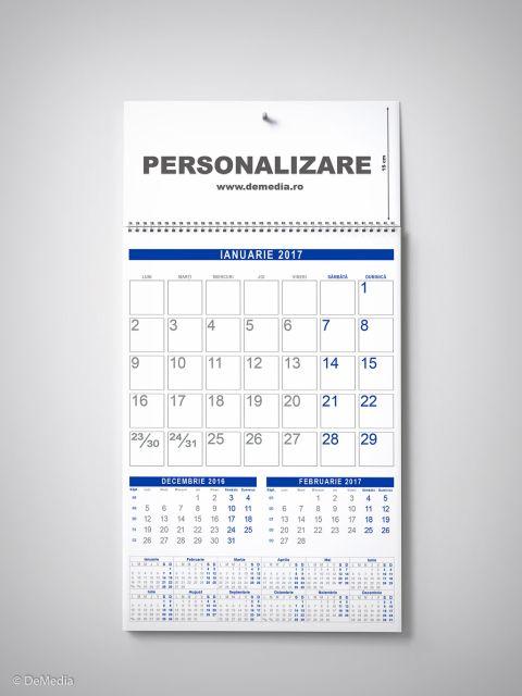Calendar perete 33x48cm,12f,cameleon,albastru,2017