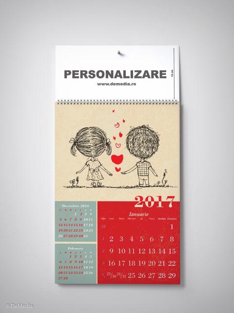 Calendar perete 33x48cm,Dragoste,12f,2017