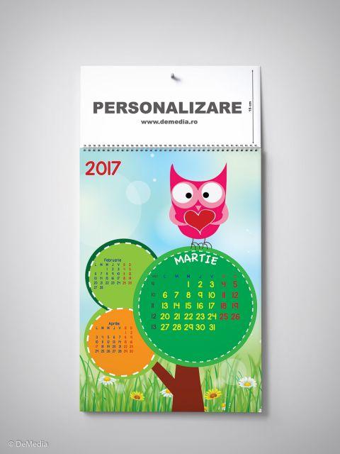 Calendar perete 33x48cm,Bufnitei,12f,2017