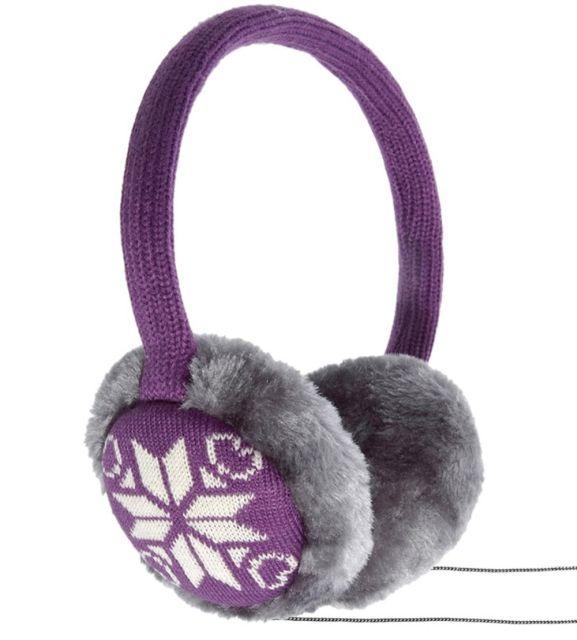 Aparatori urechi Snowflake, cu casti integrate, mufa de 3.5mm, Mov