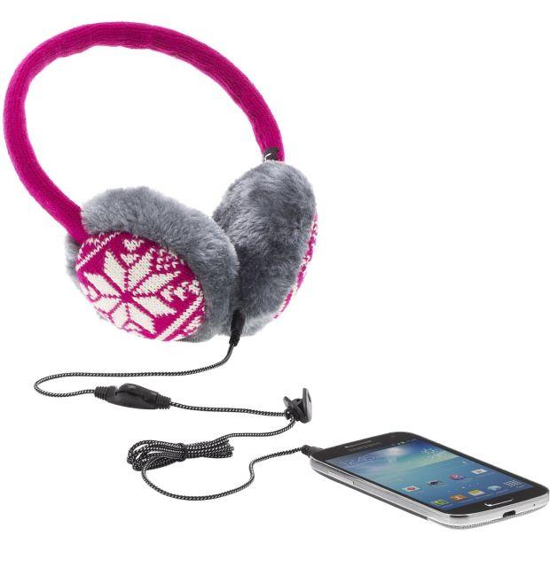 Aparatori urechi Fair Isle, cu casti integrate, mufa de 3.5mm, Roz