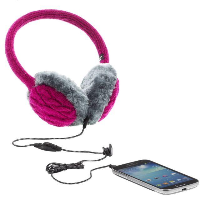 Aparatori urechi Chunky Knit, cu casti integrate, mufa de 3.5mm, Roz