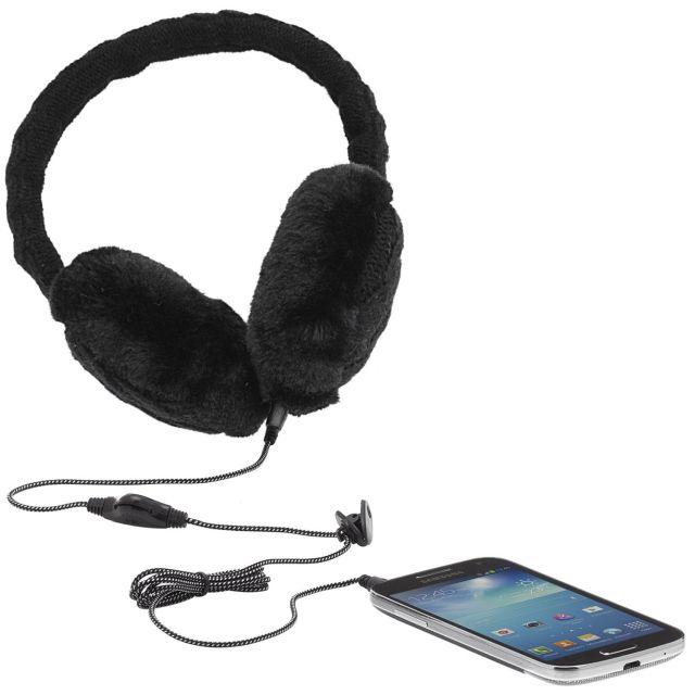 Aparatori urechi Cable Knit, cu casti integrate, mufa de 3.5mm, Negru
